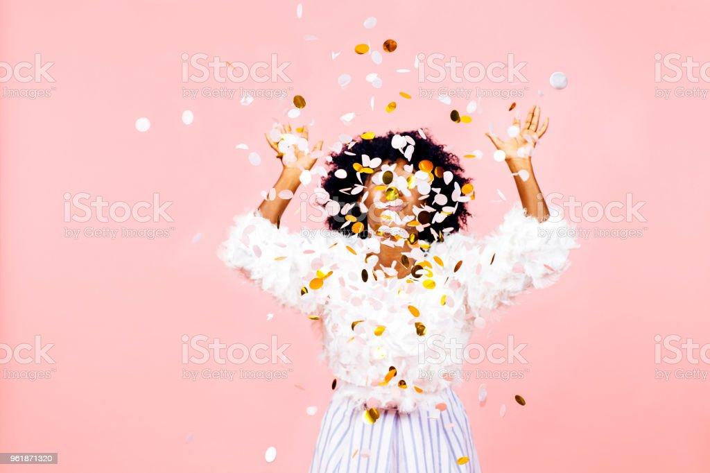 Confetti throw stock photo