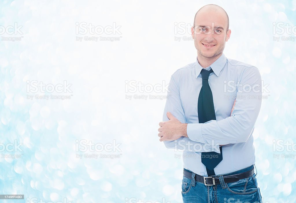 Confidence business man on christmas background royalty-free stock photo