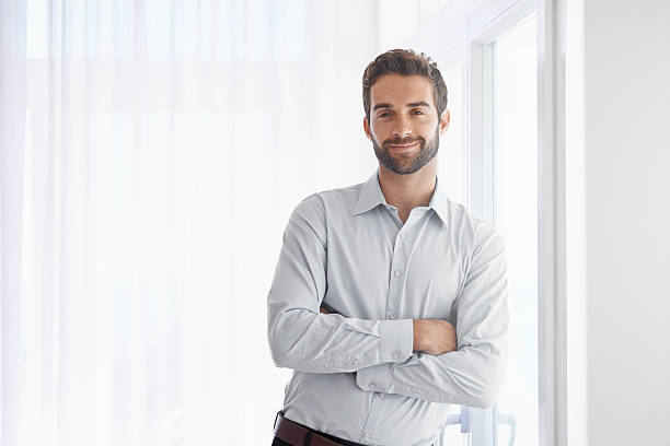 Confidence looks great on him stock photo