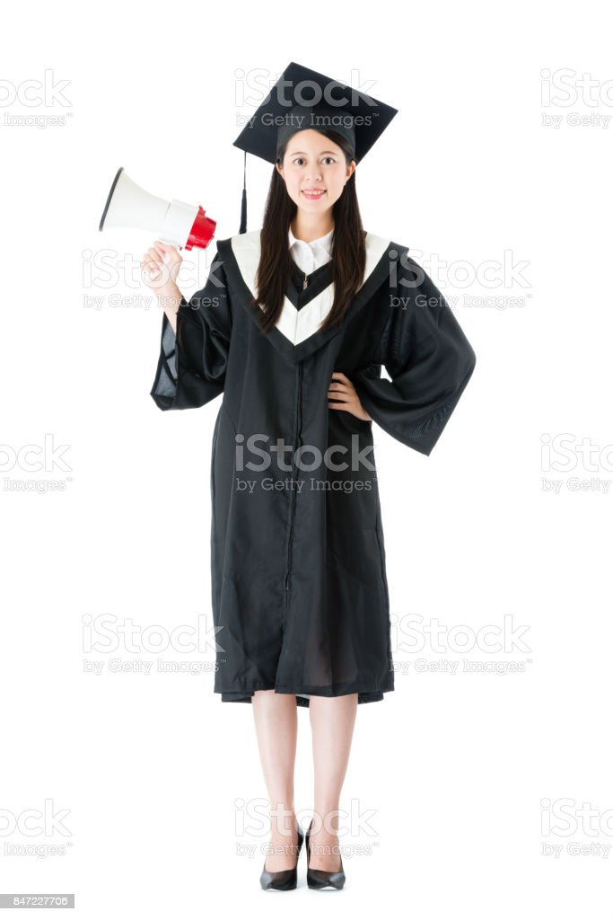 confidence smiling female college graduate stock photo