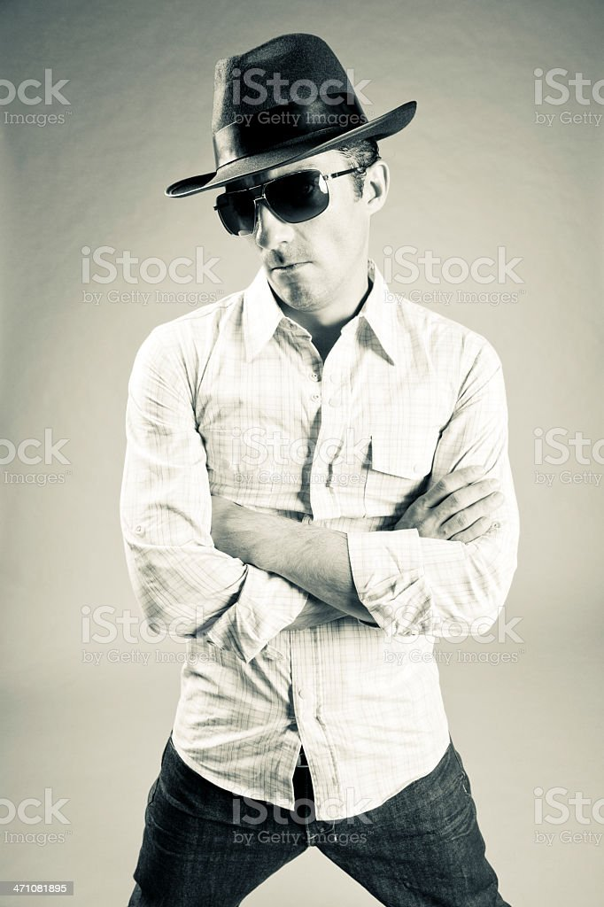 Confidence,Young Mafioso Portrait royalty-free stock photo