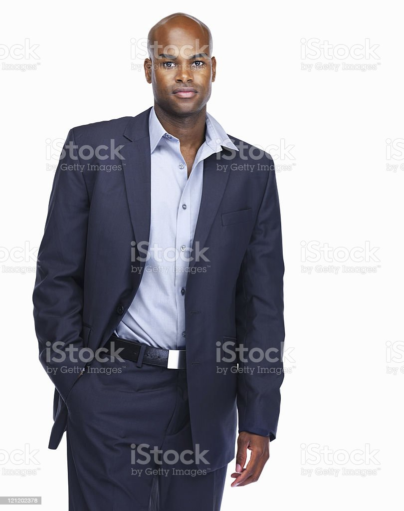Confident African American business man isolated on white royalty-free stock photo