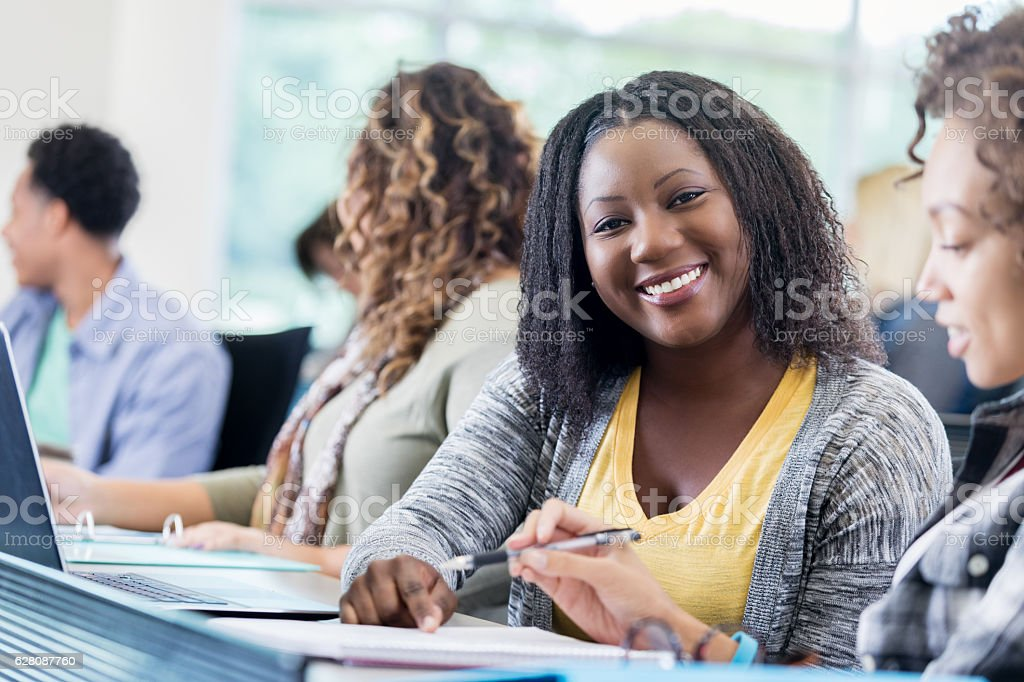 Confident African American College Student In Class Royalty Free Stock Photo