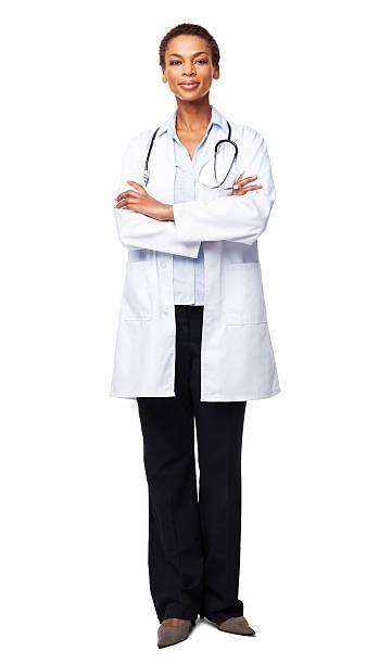 confident african american female doctor - isolated - tam uzunluk stok fotoğraflar ve resimler
