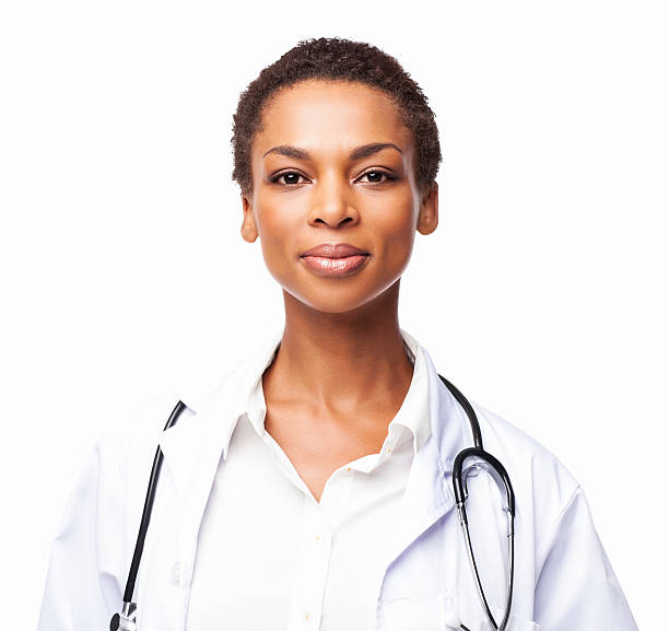 Confident African American Female Doctor - Isolated stock photo