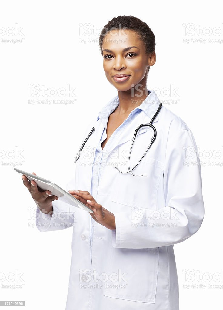 Confident African American Female Doctor With a Tablet Computer-Isolated stock photo