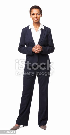 Full length portrait of a confident African American female executive. Vertical shot. Isolated on white.