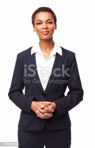 Portrait of a confident African American female executive. Vertical shot. Isolated on white.