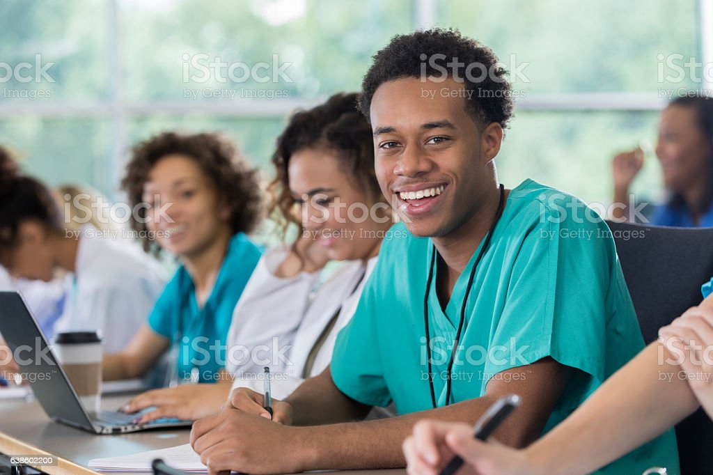Confident African American male pre-med student in class stock photo