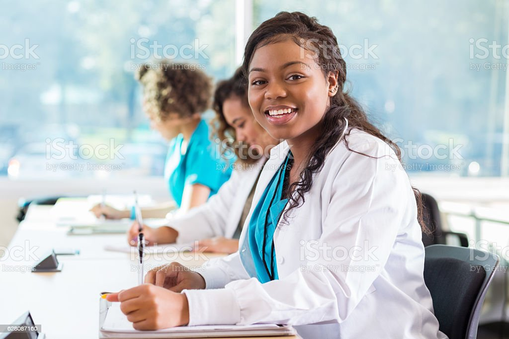 Confident African American medical student in classroom stock photo
