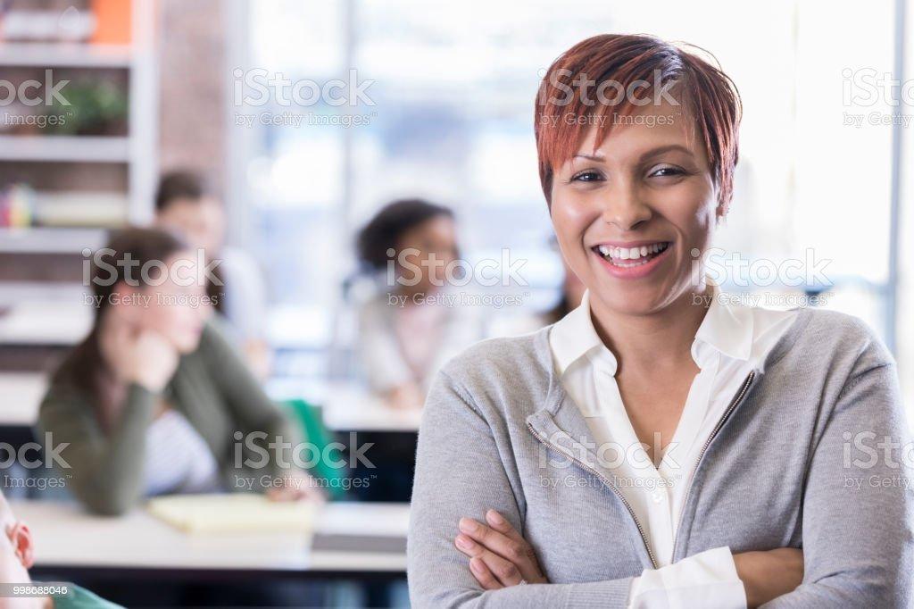 Confident African American school teacher stock photo