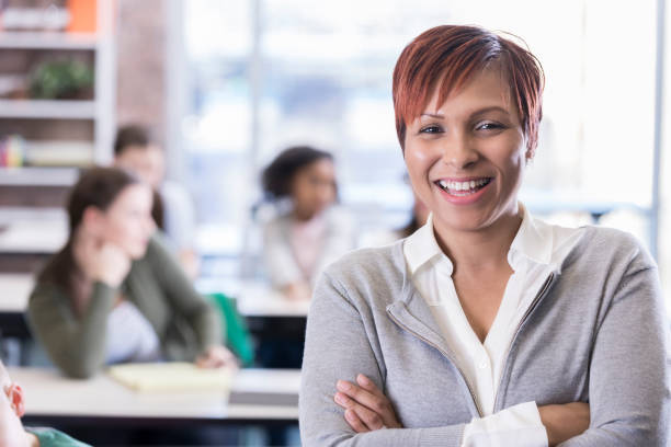Confident African American school teacher stock photo