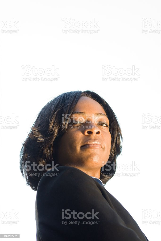 Confident African American Woman Suit Isolated on White stock photo