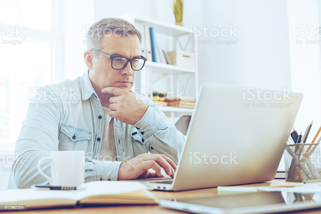 Confident and concentrated. stock photo