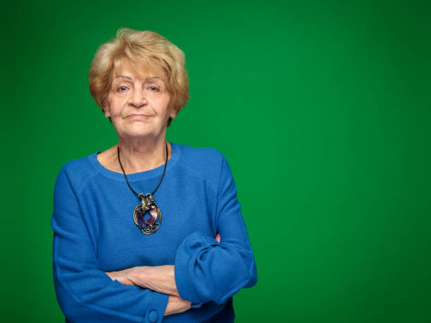 confident and powerful old lady stock photo