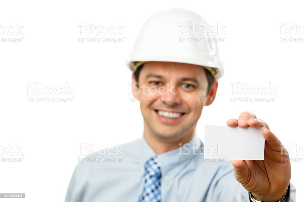 Confident architect holding a card royalty-free stock photo