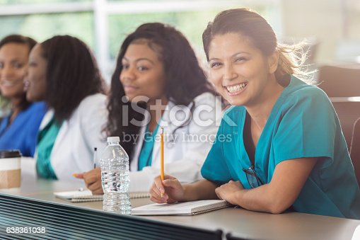 istock Confident Asian med student in class 638361038