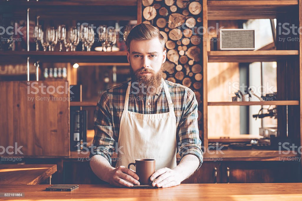 Confident barista. stock photo
