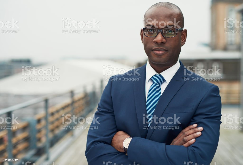 Confident black business man stock photo