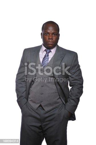 Portrait of confident black corporate lawyer.