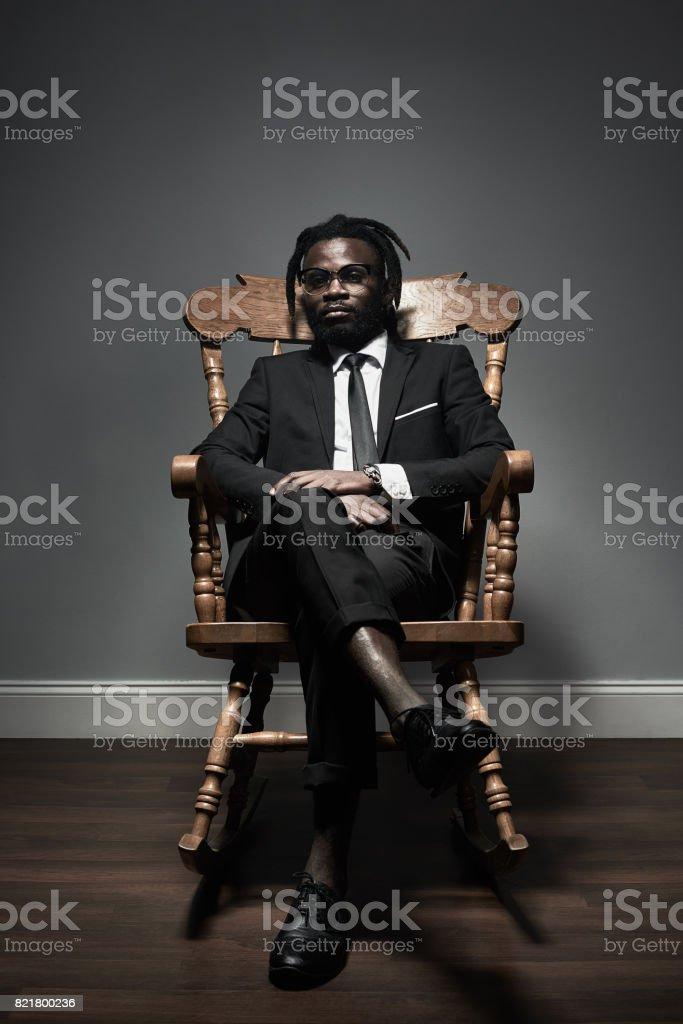 Confident black kingpin stock photo