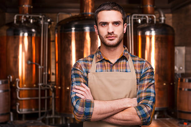 Confident brewer. stock photo