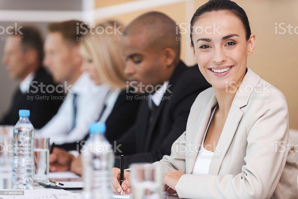Confident business expert. stock photo
