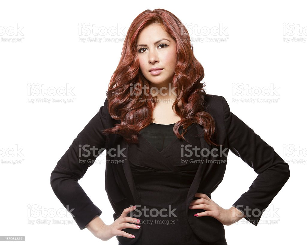 Confident business woman in black outfit stock photo