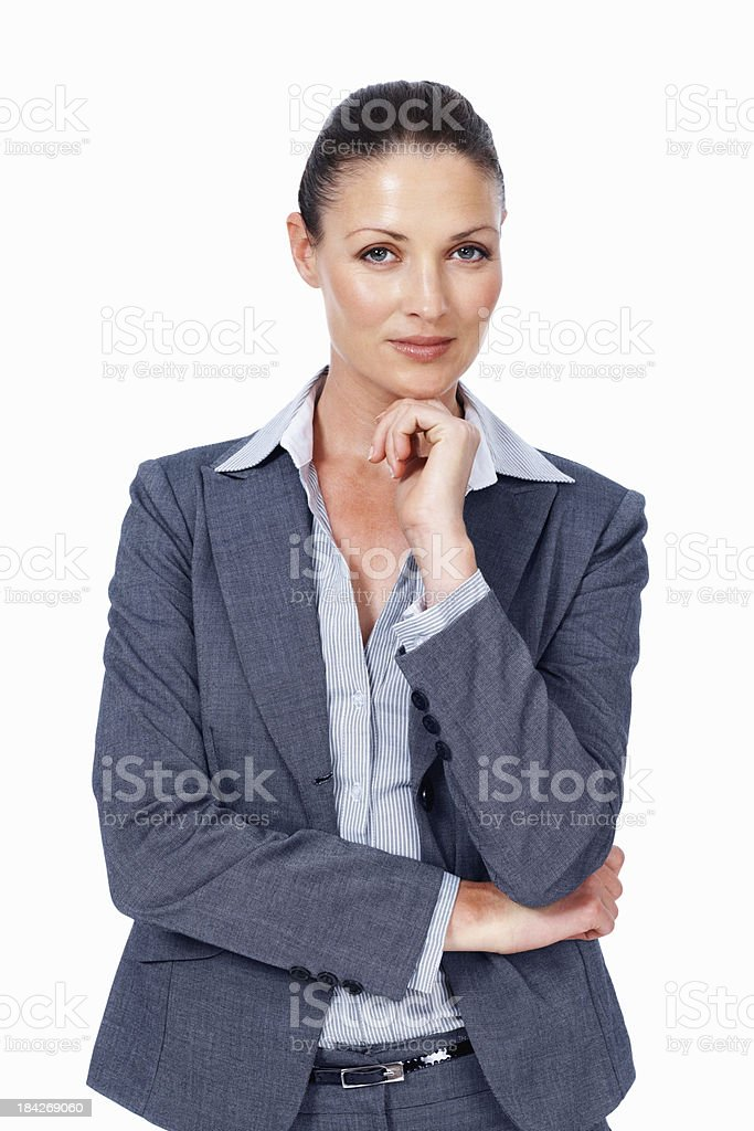 Confident business woman on white background stock photo