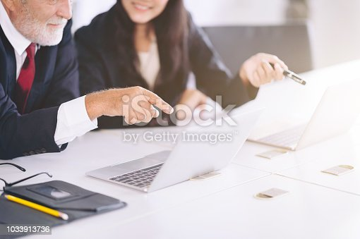 905746192 istock photo Confident businessman boss working with employee at work place,Business people discussion and analyzing plan on laptop computer 1033913736