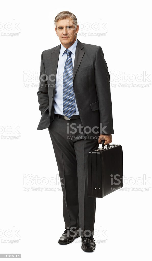 Confident Businessman Carrying Briefcase stock photo