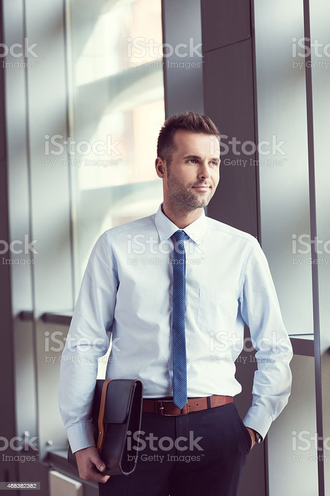 Confident businessman in the office, holding a briefcase Portrait of confident businessman wearing shirt and tie standing with hand in pocket by the window in the conference room, holding a black  leather briefcase.  2015 Stock Photo