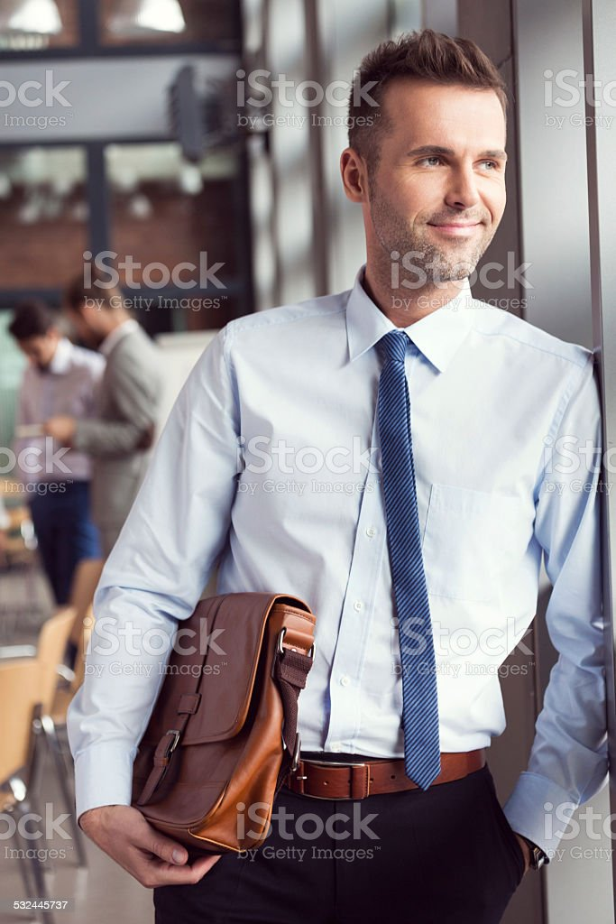 Confident businessman in the office, holding a briefcase Portrait of confident businessman wearing shirt and tie standing by the window in the conference room, holding a leather briefcase. Coworkers in the background. 2015 Stock Photo