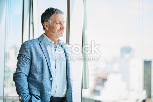 Confident male business professional looking through window. Smiling businessman is standing in coworking office. He is in businesswear.