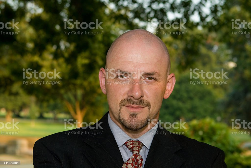 Confident Businessman Outside in Park royalty-free stock photo