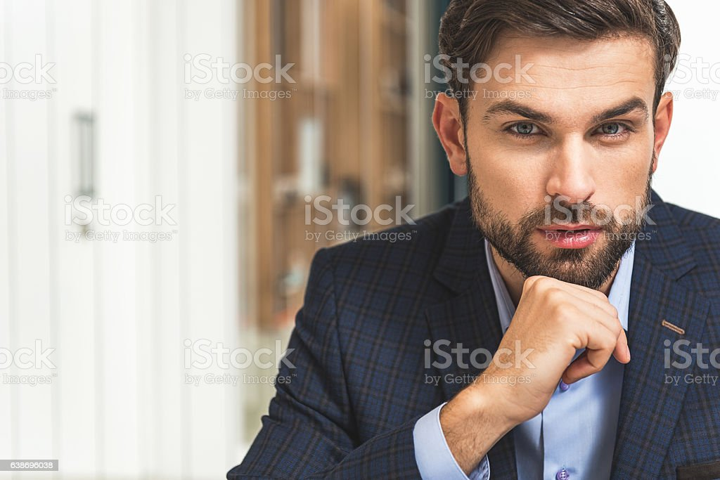 Confident businessman planning his work stock photo
