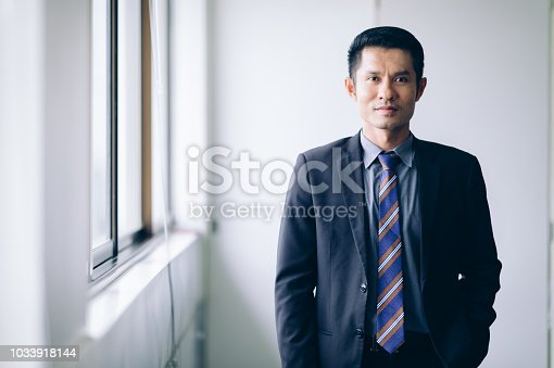 istock Confident Businessman  smiling to success job.Successful Teamwork Partnership at office 1033918144