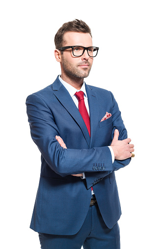 Confident Businessman Wearing Elegant Suit And Glasses Stock Photo - Download Image Now