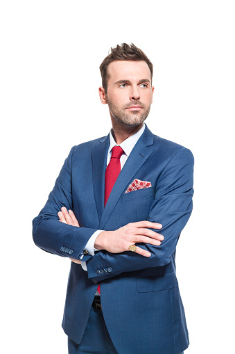 Confident Businessman Wearing Elegant Suit Stock Photo - Download Image Now