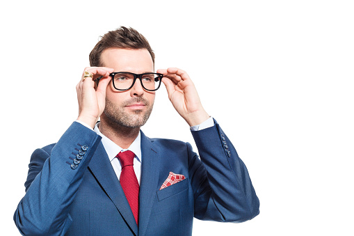 Confident Businessman Wearing Suit And Nerd Glasses Stock Photo - Download Image Now