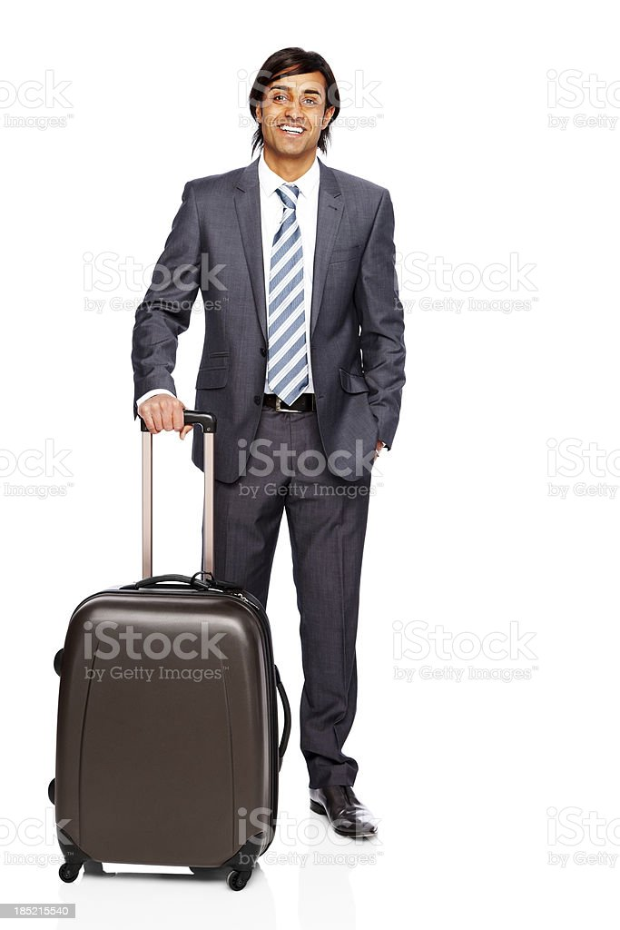 Confident businessman with luggage isolated on white royalty-free stock photo