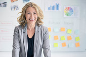 Portrait of confident businesswoman in office. Smiling female professional is standing against whiteboard with charts and adhesive notes. Smiling manager is in businesswear at workplace.