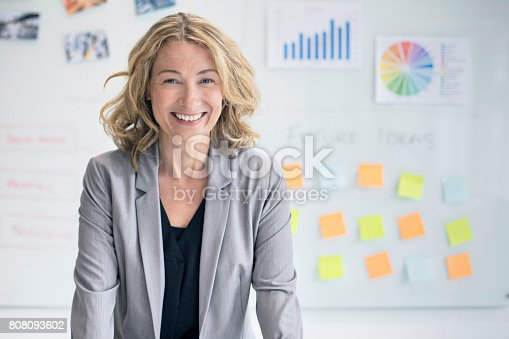 istock Confident businesswoman against whiteboard 808093602