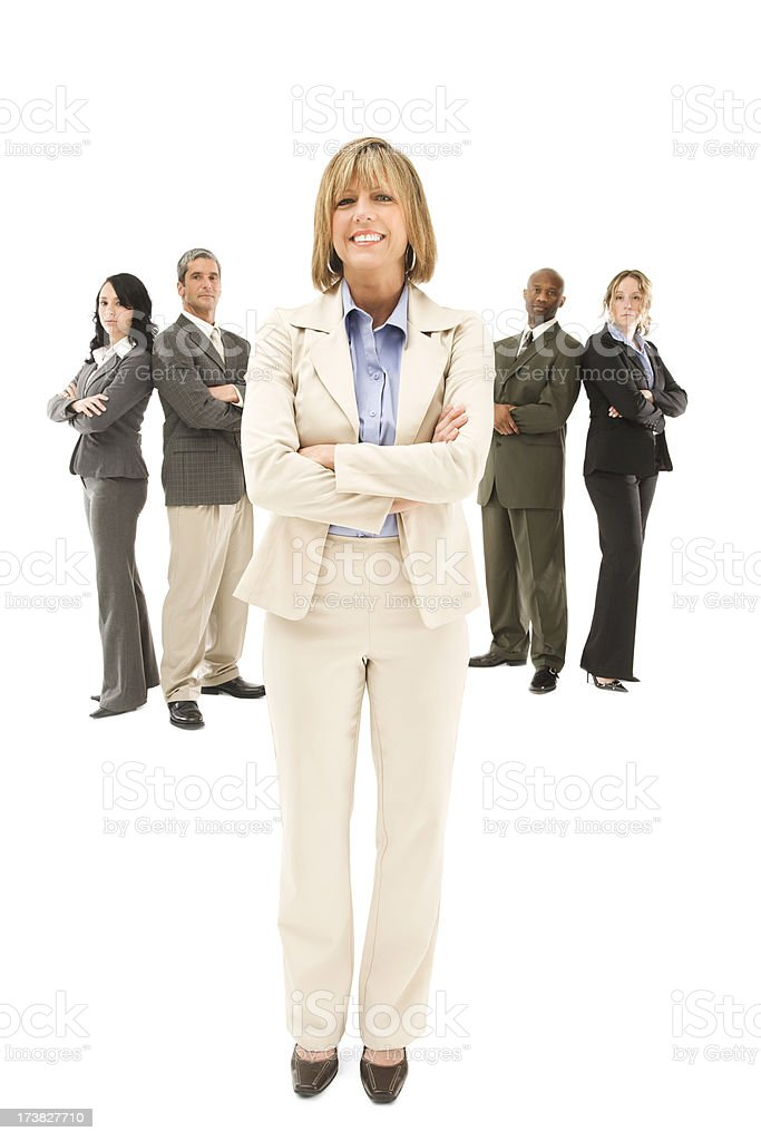 Confident Businesswoman and Her Team royalty-free stock photo