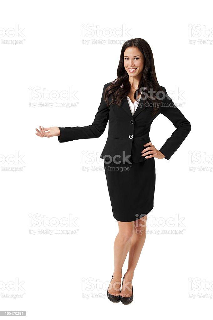 Confiant Femme d'affaires gestes isolé sur fond blanc - Photo