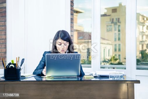 155279487 istock photo Confident businesswoman in her office working on laptop 172466709