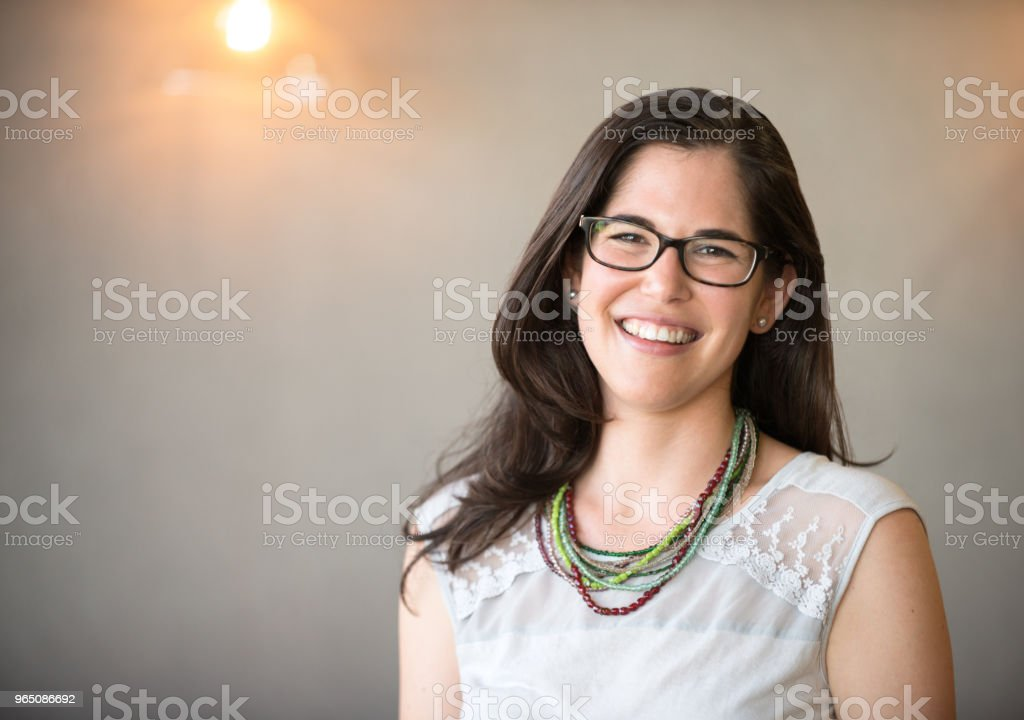 Confident businesswoman in office with copy space royalty-free stock photo