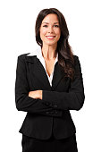 Confident Businesswoman Isolated on White Background