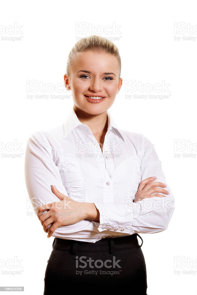 Confident businesswoman on a white background stock photo