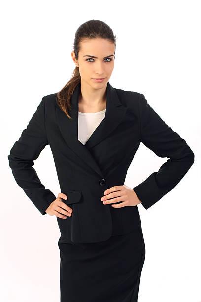 Zuversichtlich Geschäftsfrau auf weißem Hintergrund – Foto